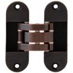 Петля скрытая, универсальная, нерегулируемая, 90x30 мм, 40 кг, цамак, бронза