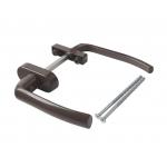 Гарнитур для балконной двери алюминиевый, узкий, штифт 120мм., коричневый
