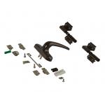 Комплект поворотный V.01 (ручка, петли, запоры, микровентиляция), коричневый RAL8019, 01184640K