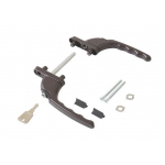 Гарнитур балконный с ключом Интерника, штифт 47 мм, коричневый