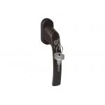 Ручка оконная с ключом и кнопкой Pluton  35 мм, цвет коричневый