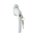 Ручка оконная с замком и ключом для пластиковых окон 35мм белая